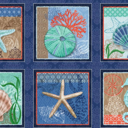 Coastal Dreams Navy/Multi Coastal 24in Block Panel 4854-77