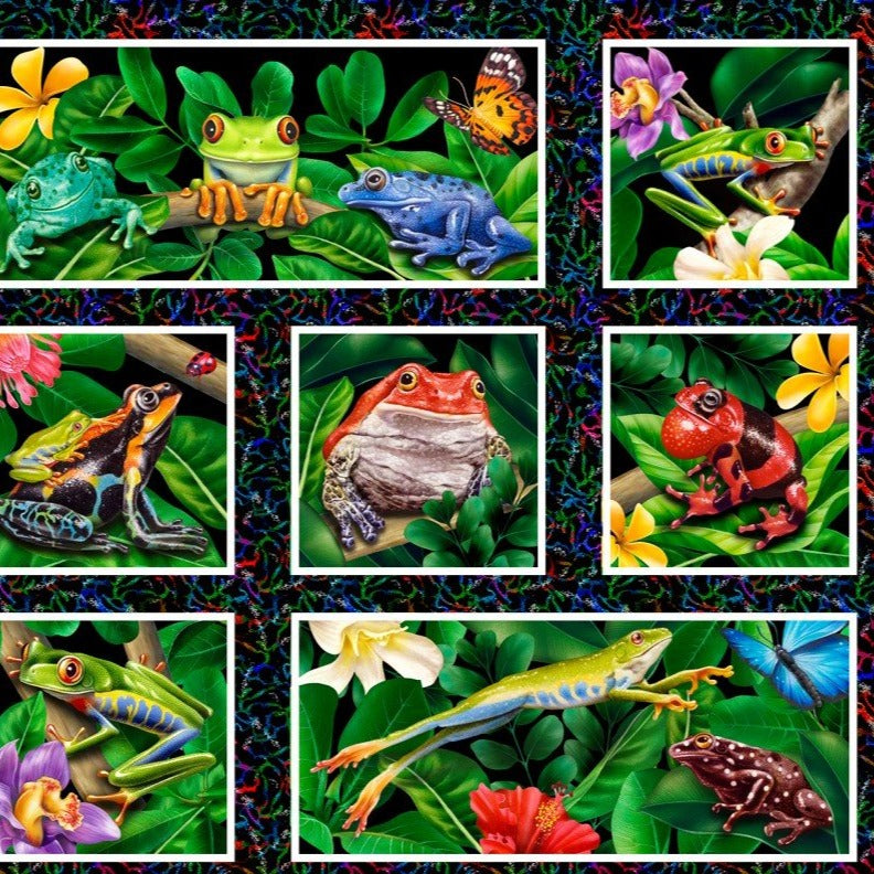 Jewels of the Jungle Frog Panel  5566S-99