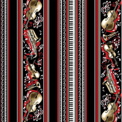 Musical Moments  Black Musical Border Stripe 7848-12