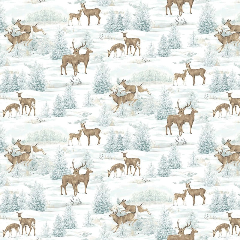 FLANNEL Frosted Woodland All-over Deer F23629-42