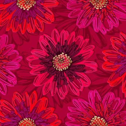 Shiny Objects Ruby Embossed Blooms  FF500-RU1M
