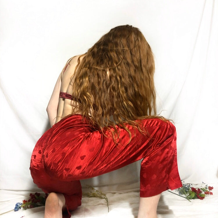 Silky Red Heart Pajama Pants