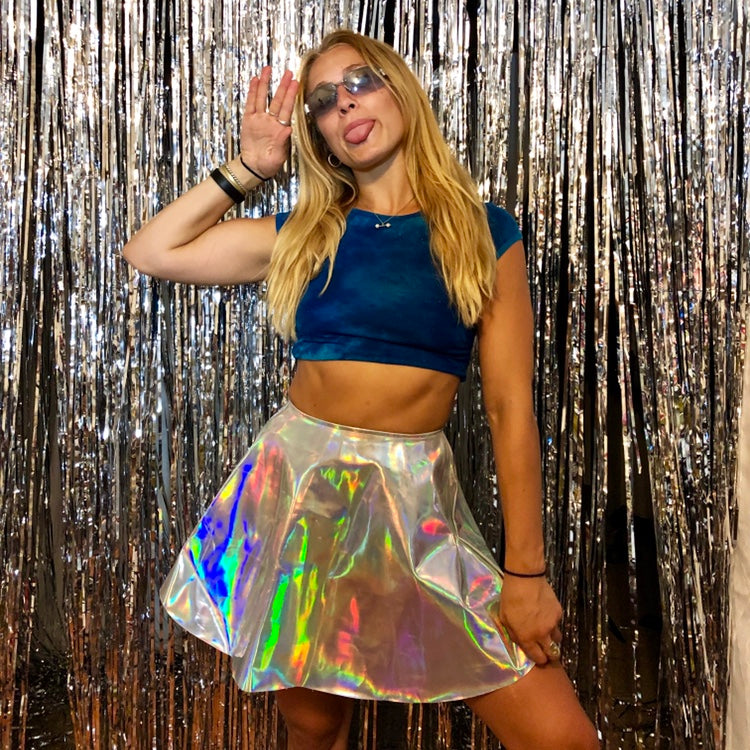 Holographic Disco Skirt