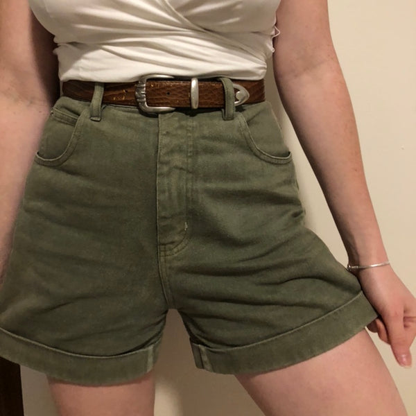 Army Green Denim Shorts