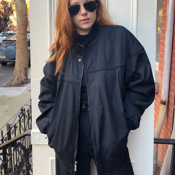 Oversized Black Bomber Jacket