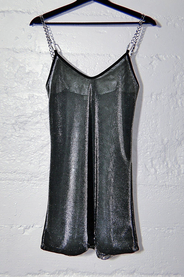 The Heavy Metal Chain Dress in Solid Silver Metallic Mesh