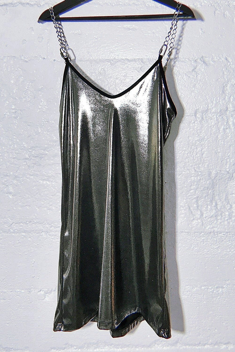 The Heavy Metal Chain Dress in Liquid Lamé Silver