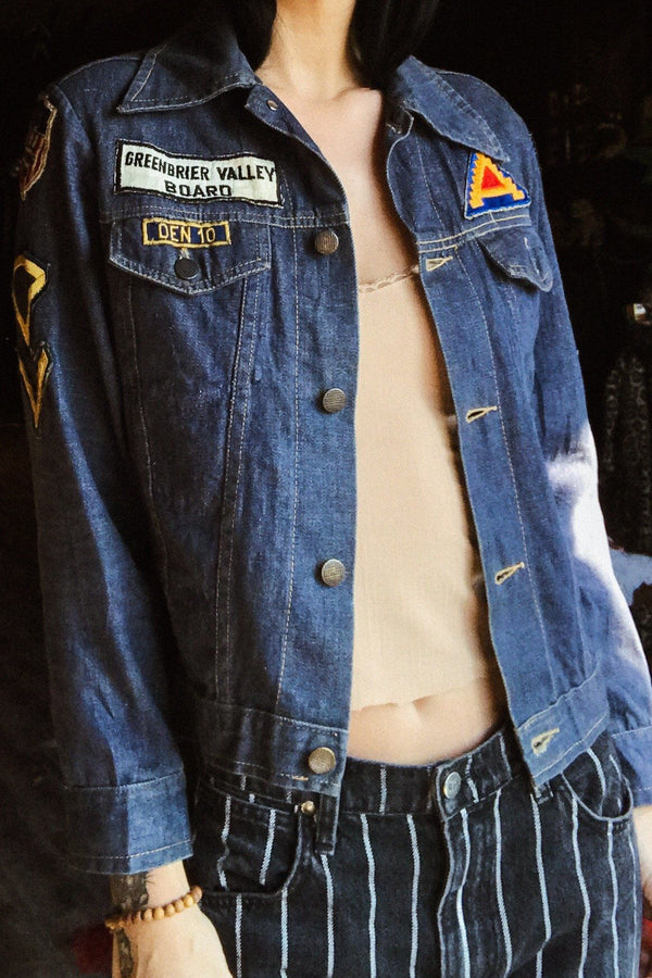 Amazing 1970s Original Petite Patched Denim Jacket