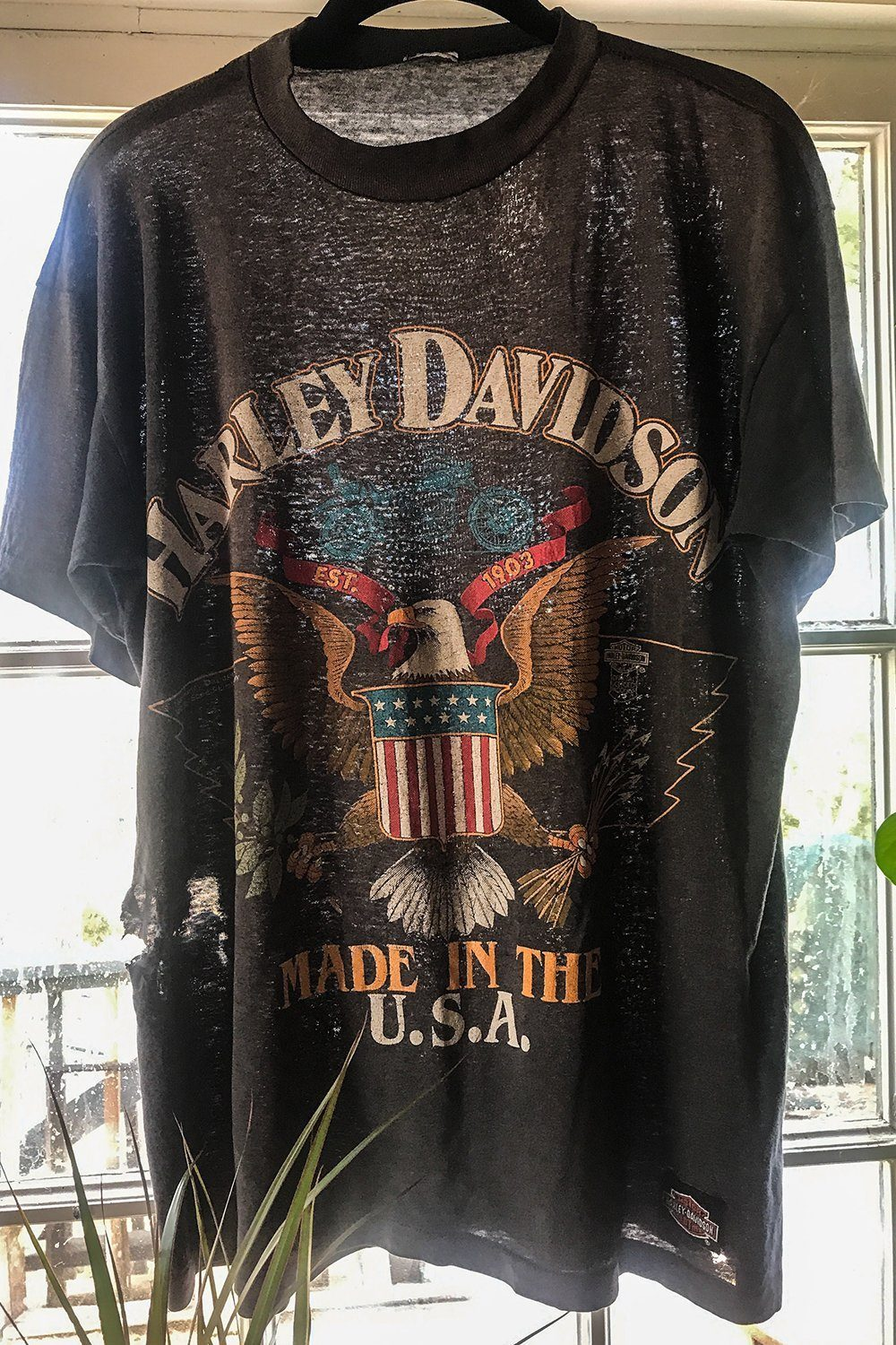 1988 Paper Thin & Slinky Faded Harley Made in the USA 50/50 Tee, tops, BACKBITE, BACKBITE