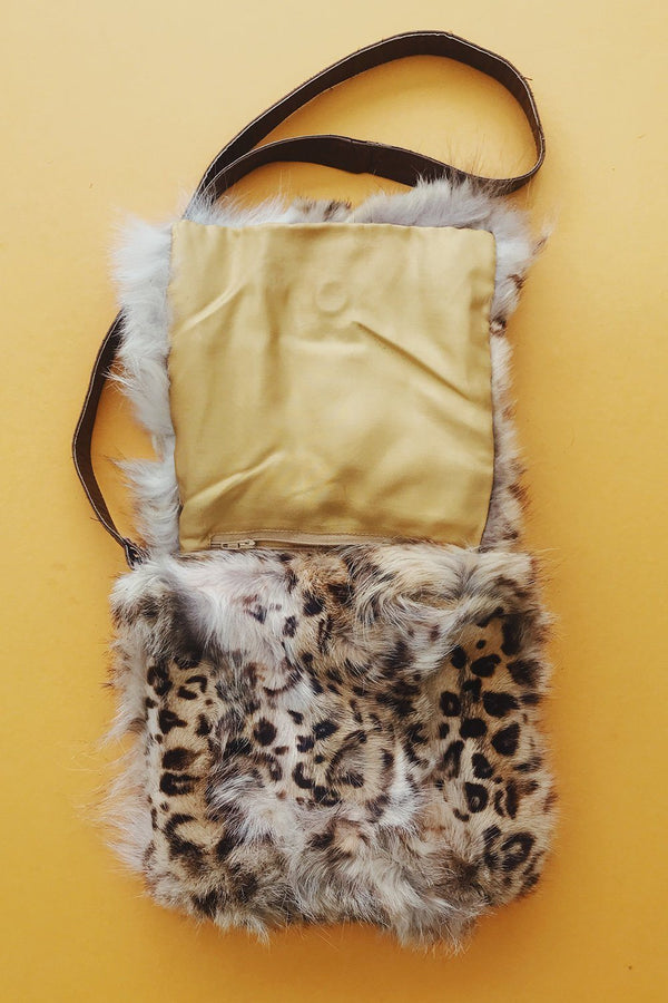 Amazing Leopard Printed Fur Bag w/ Yellow Satin Lining