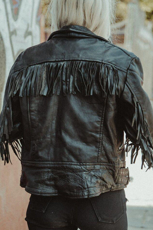 Nighthawk Perfectly Fitted Black Leather Fringe Jacket, Outerwear, BACKBITE