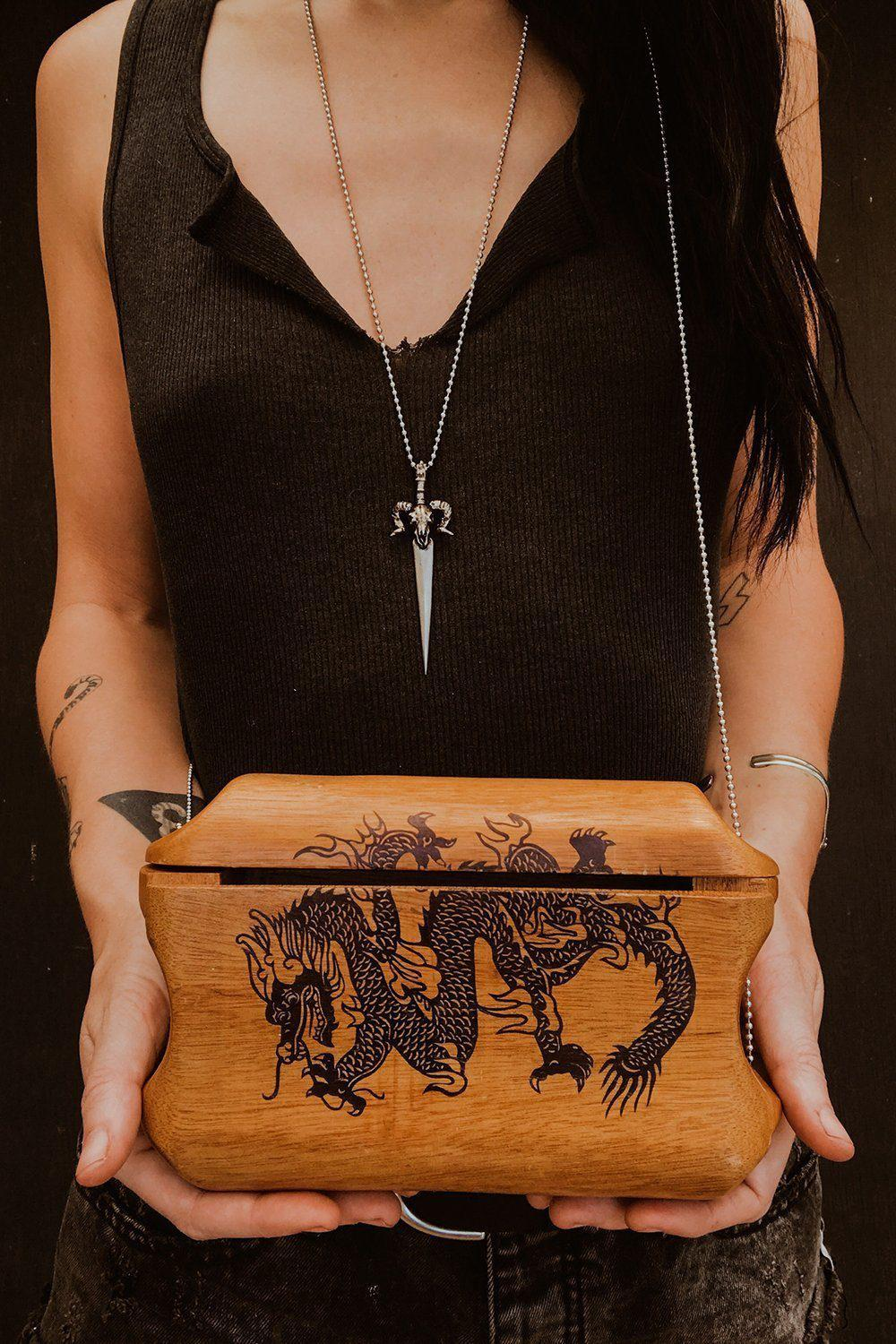 Amazing Vintage Wood Dragon Purse with Ball Chain Strap, Accessories, BACKBITE, BACKBITE