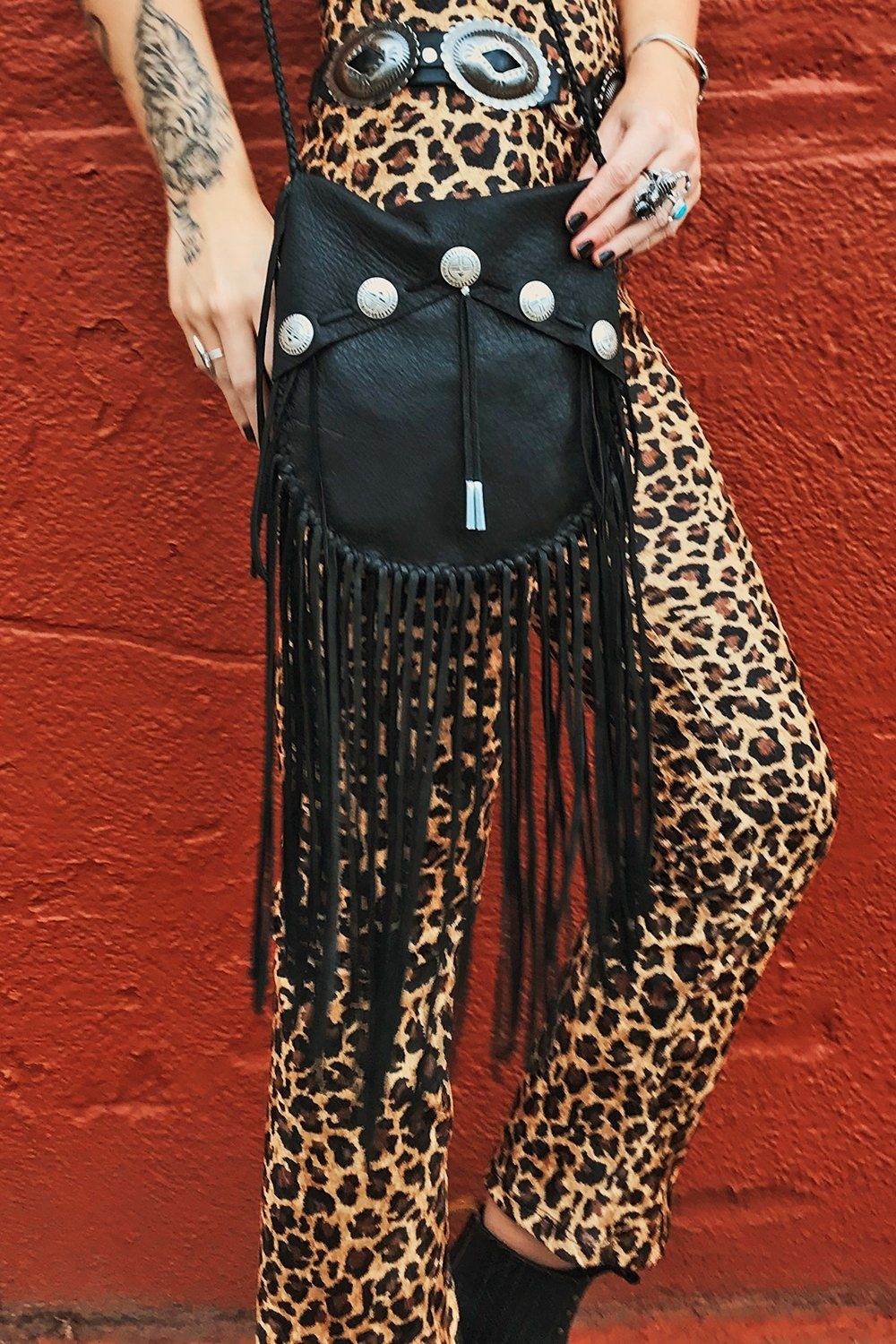 The Southwestern Concho Fringe Bag Handcrafted by Black Wolff Leather