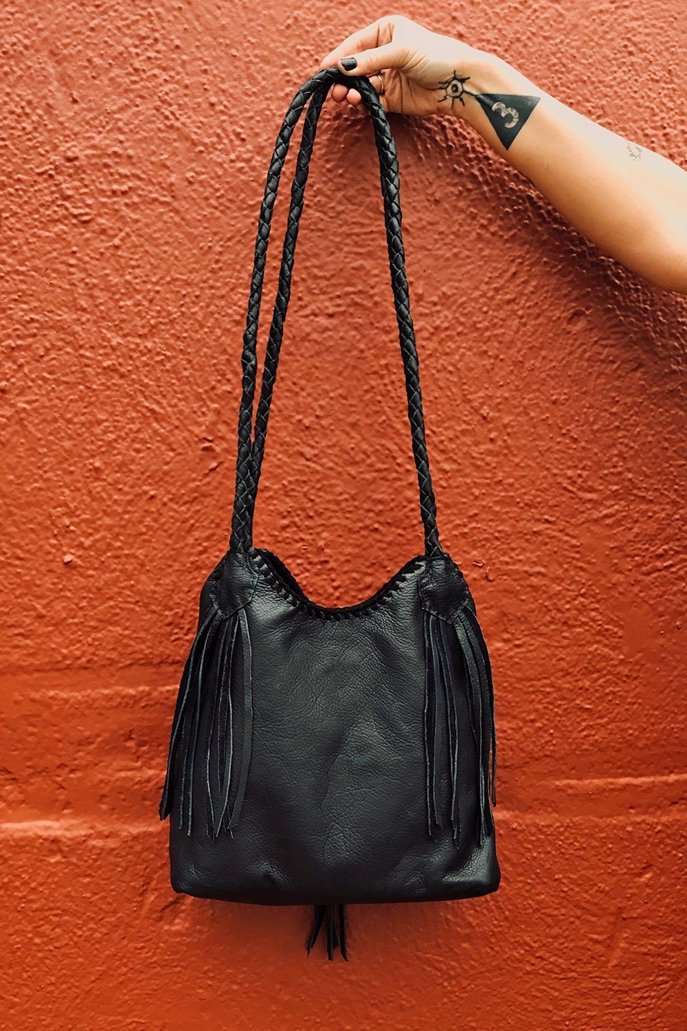Midnight Moon Shoulder Bag Handcrafted by Black Wolff Leather