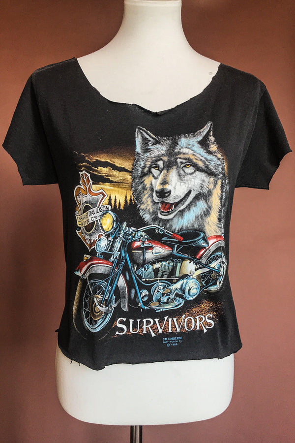 1989 Paper Thin Black Hills Wolf Cropped 50/50 Tee