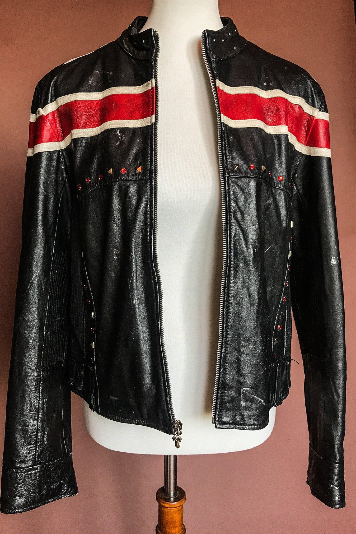 -Rock of Ages- Amazing Painted & Studded Def Leppard Leather Jacket, Outerwear, BACKBITE, BACKBITE