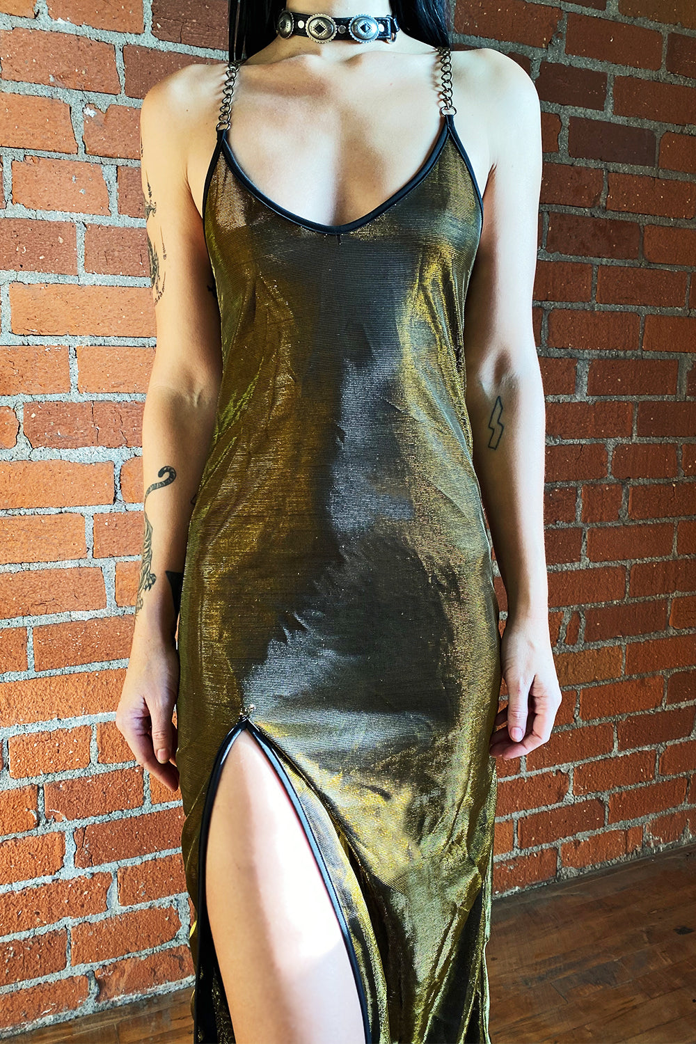 The Angelina Chain Dress・Metallic Gold