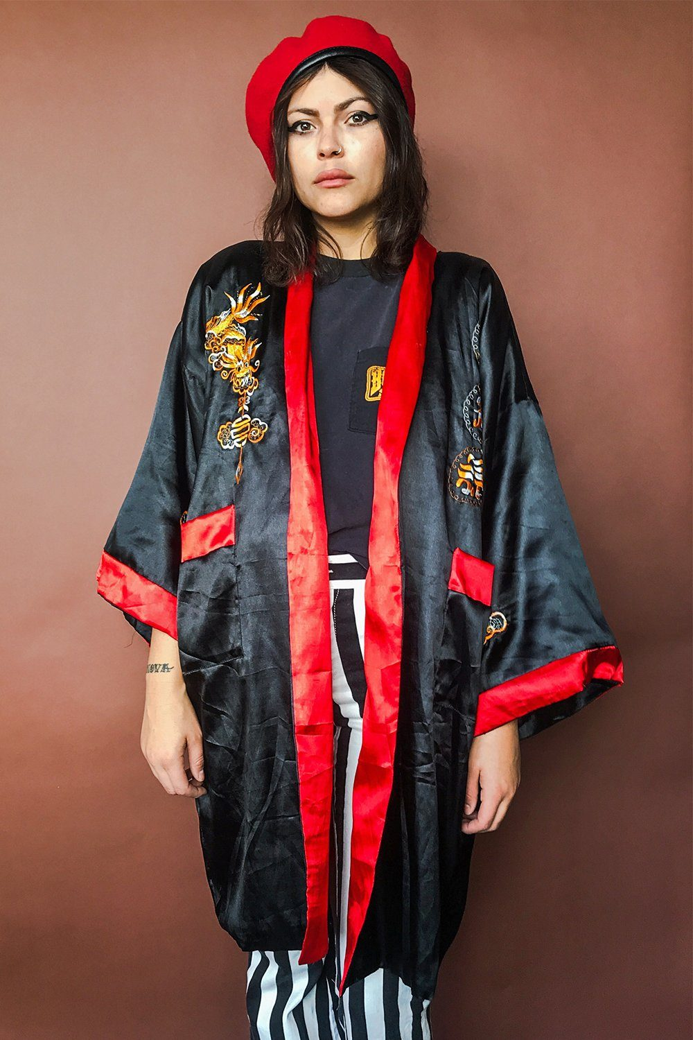 Reversible Black and Red Dragon Robe