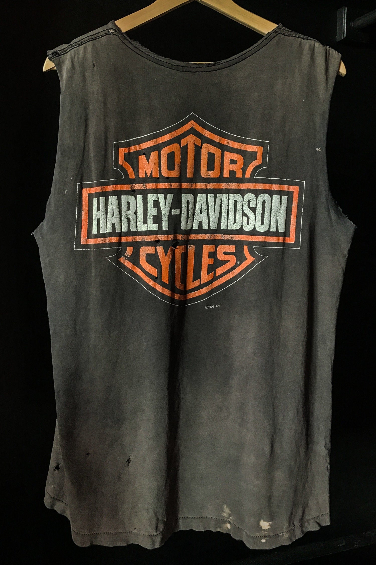 Perfectly Destroyed Paper Thin Harley Davidson Muscle Tee