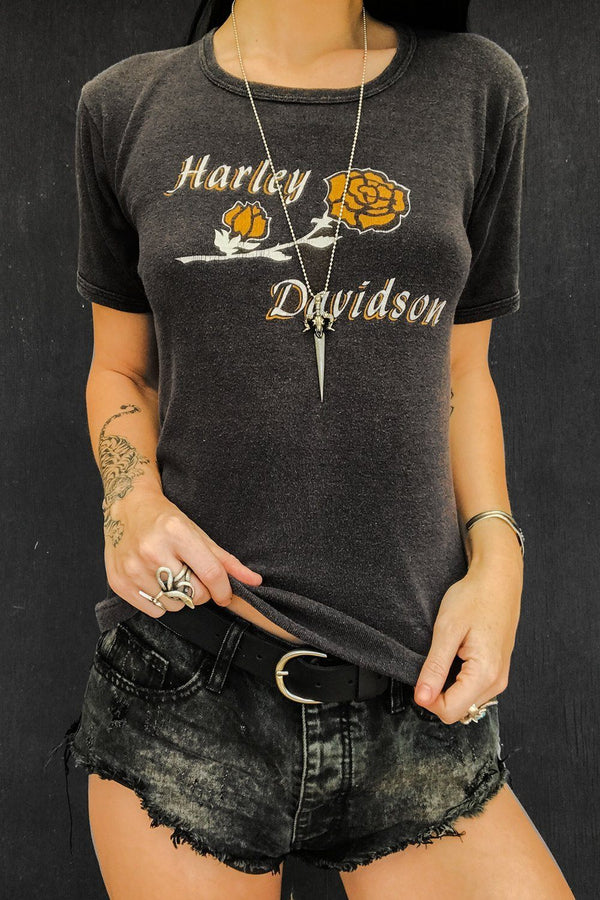 Yellow Rose Harley Davidson Ribbed Knit Double-Sided 50/50 Babydoll Tee