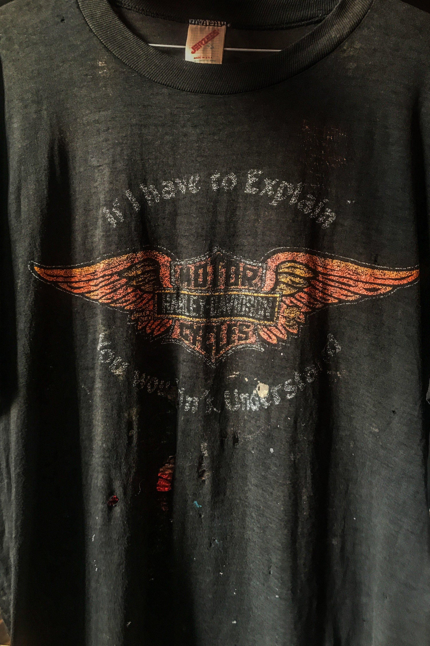 1980s Tissue Thin & Tattered 'If I Have To Explain' Black Harley 50/50 Tee, Tops, BACKBITE, BACKBITE