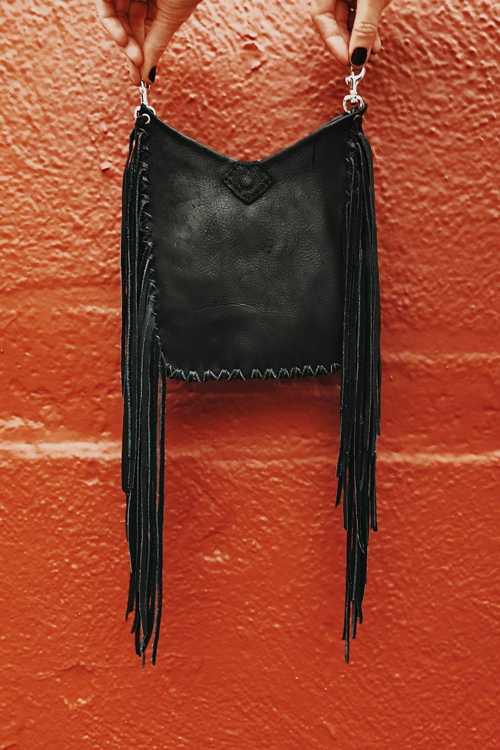 Goat Herder Clip On Fringe Belt Bag Handcrafted by Black Wolff Leather