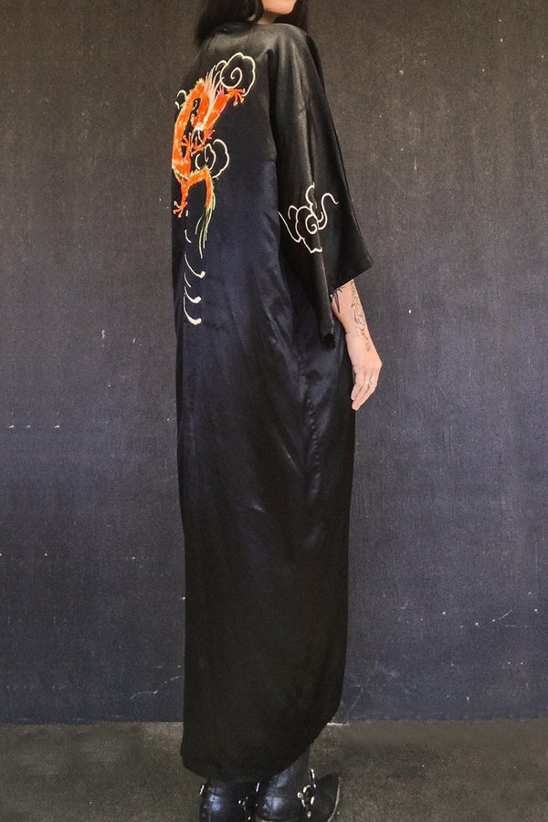 Fire Dragon Black Zip-Front Embroidered Dragon OOAK Plunge Neck Dress