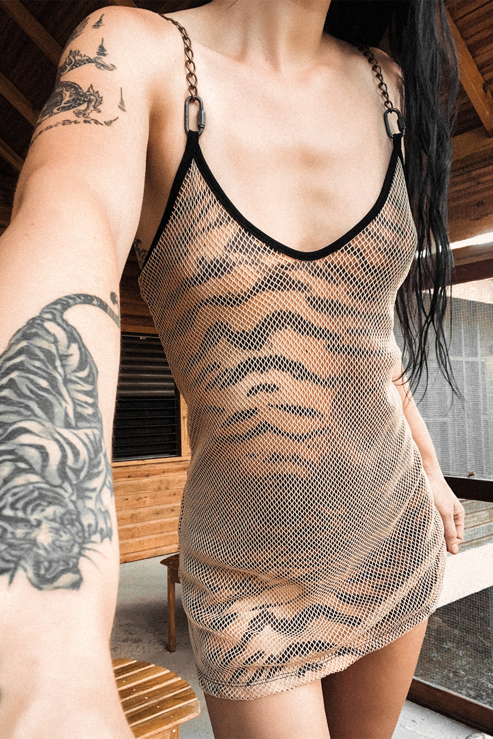 PRE-ORDER The Heavy Metal Chain Dress・Fishnet Tiger, Dresses, BACKBITE, BACKBITE
