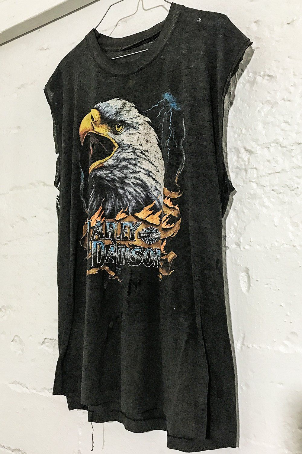 Tissue Thin (Sheer) Heavily Worn Harley 50/50 Muscle Tee