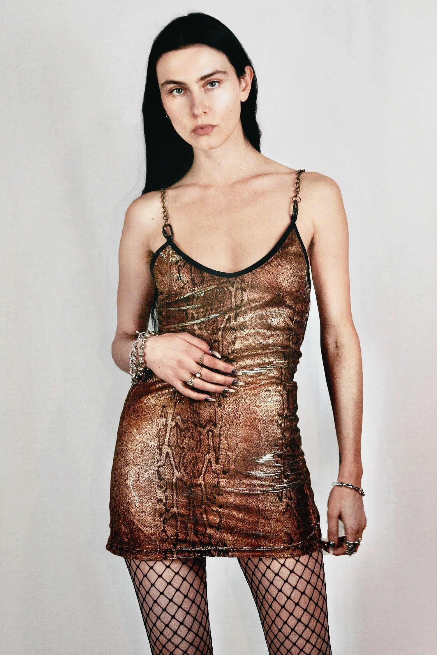 The Heavy Metal Chain Dress in Golden Cobra Velvet & Gold Metallic Mesh