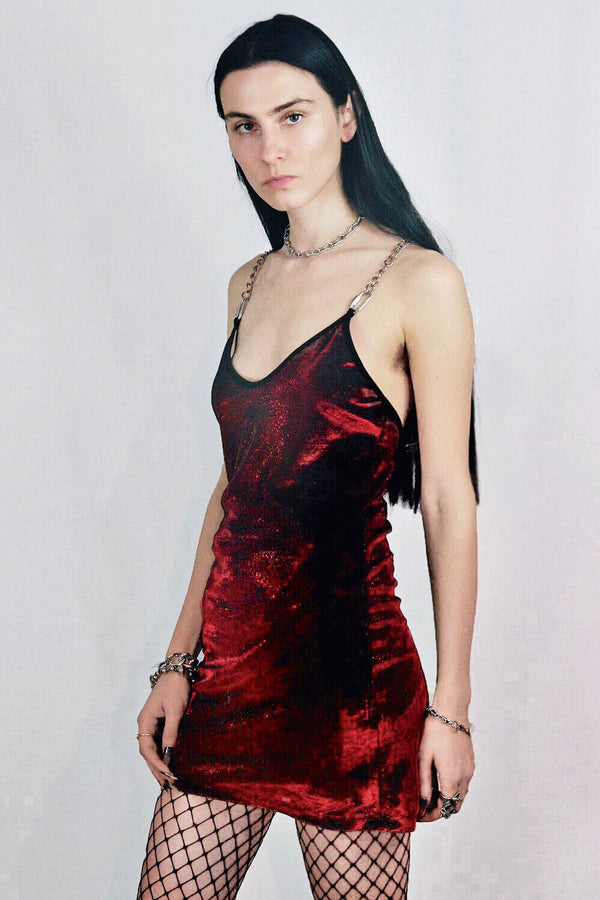 The Heavy Metal Chain Dress in Red Cobra