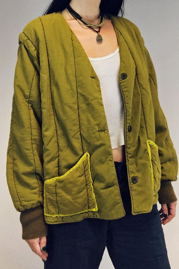1960s Quilted Czechoslovakian Overdyed Army Jacket, Outerwear, IN HOUSE, BACKBITE