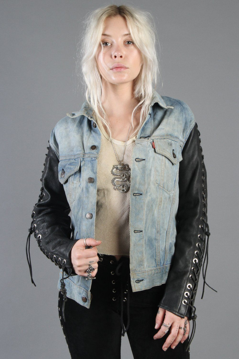 Hell Bent Leather Customized 1970s Levi's (Big E) Denim Jacket w/ Grommeted Leather Sleeves