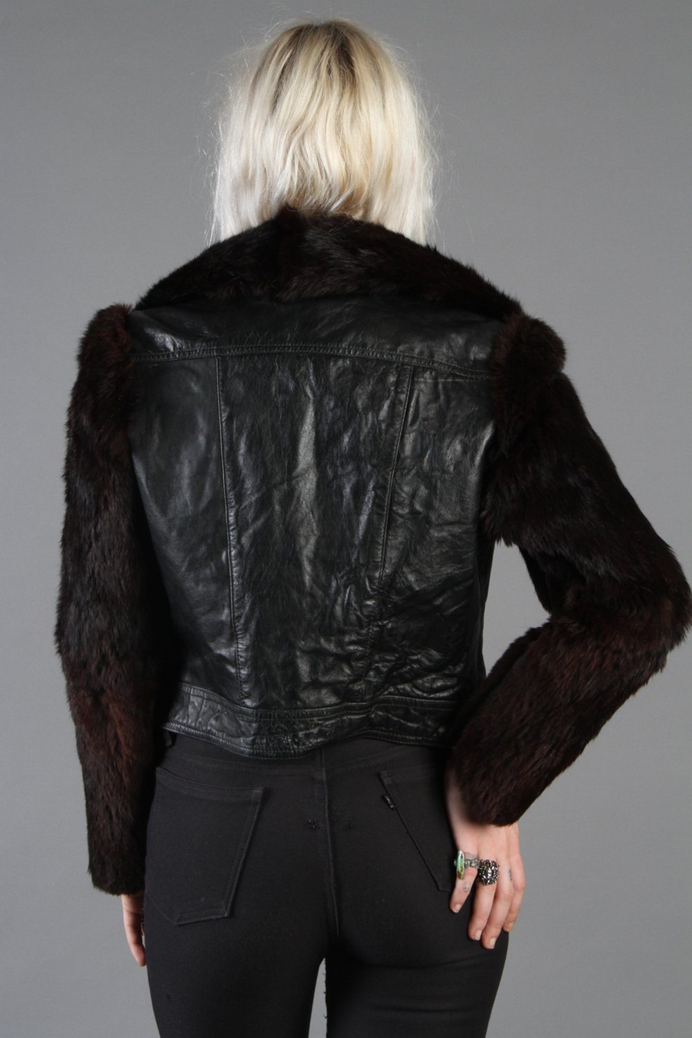 Bombshell Black Leather and Fur Perfectly Fitted Jacket