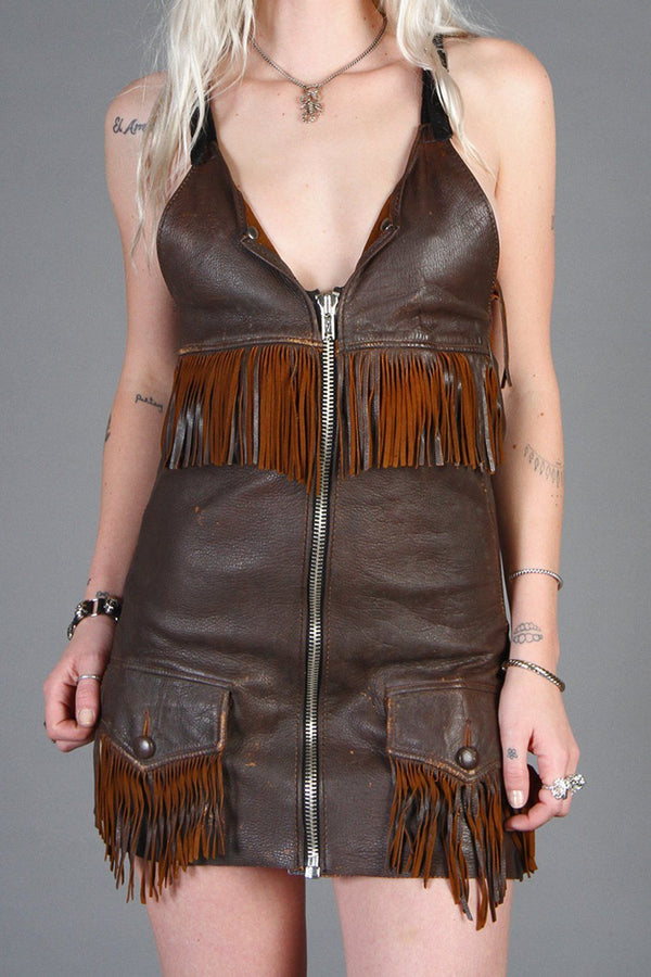 Reconstructed Vintage Leather OOAK Zip-Front Mini Dress No. 2 by Brit and Trippy Tree Leather