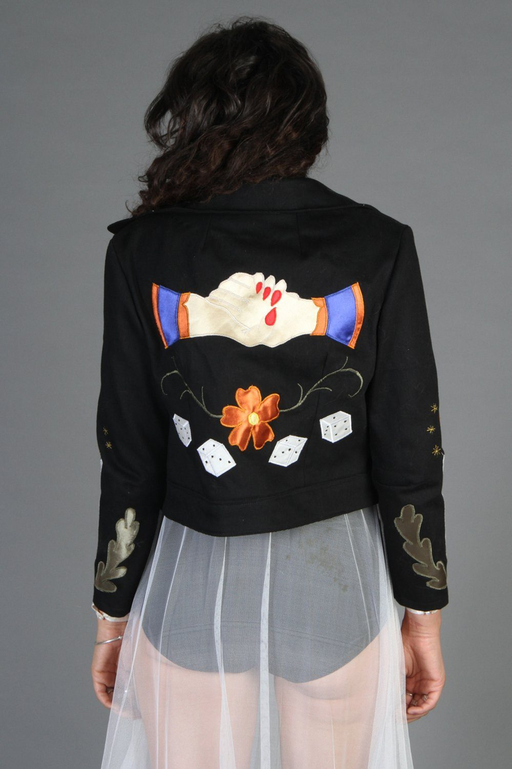 The Spider Black Denim Jacket Handcrafted by Rusty Cuts