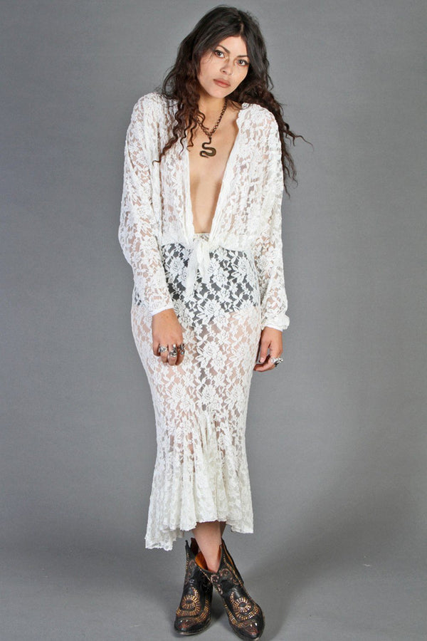"""Lace & Whiskey"" Slinkiest Ultra Plunging Lace Maxi Dress"