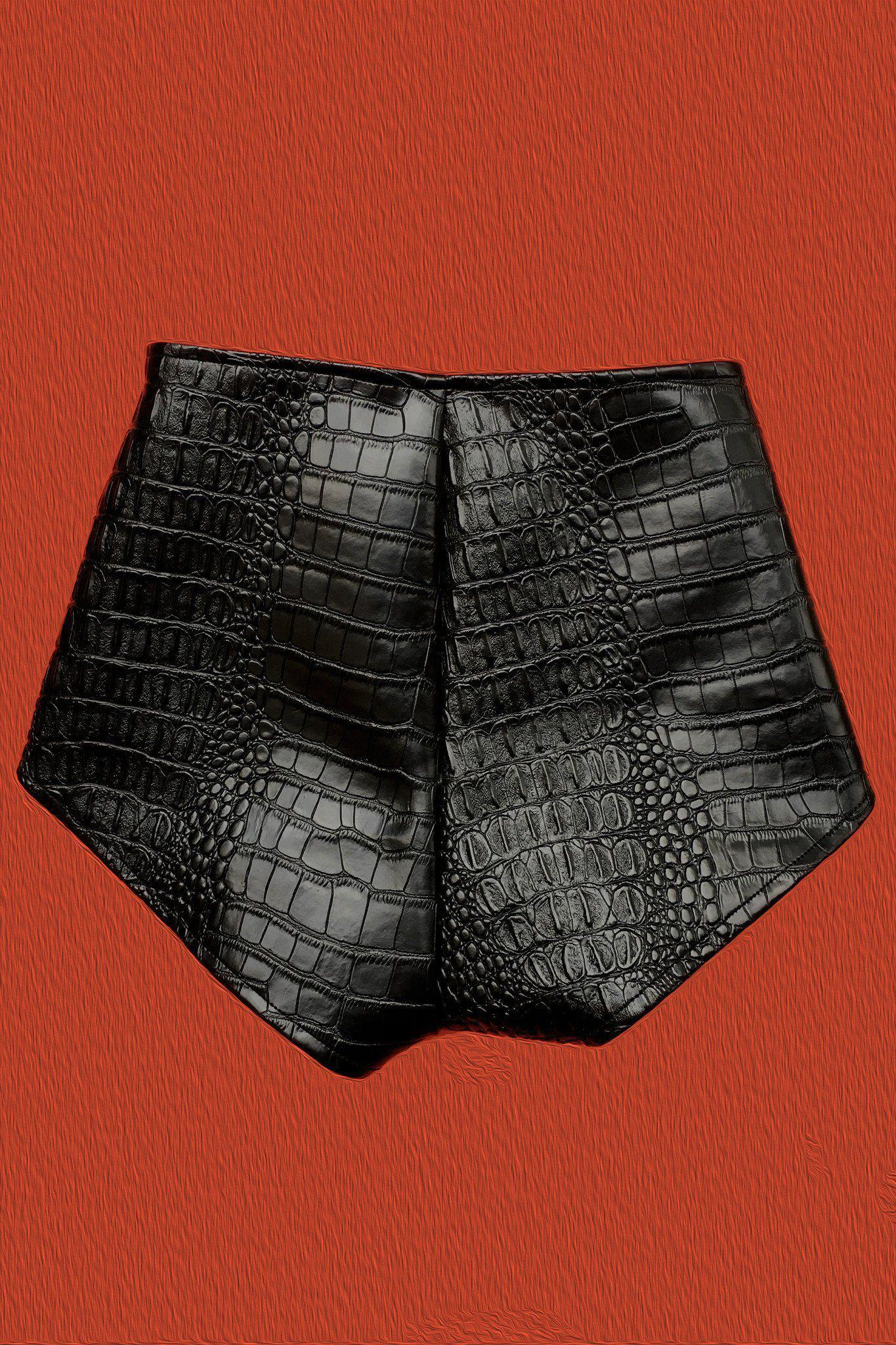 PRE-ORDER Bad Vibes Faux Leather Grommet Shorts, bottoms, BAD VIBES, BACKBITE