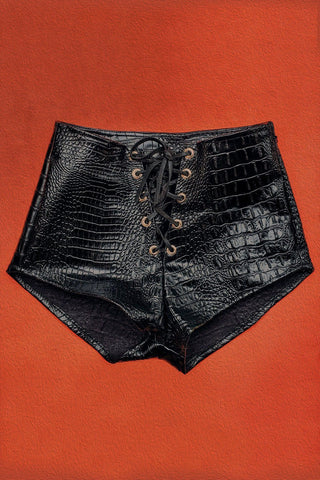 PRE-ORDER Bad Vibes Faux Leather Grommet Shorts