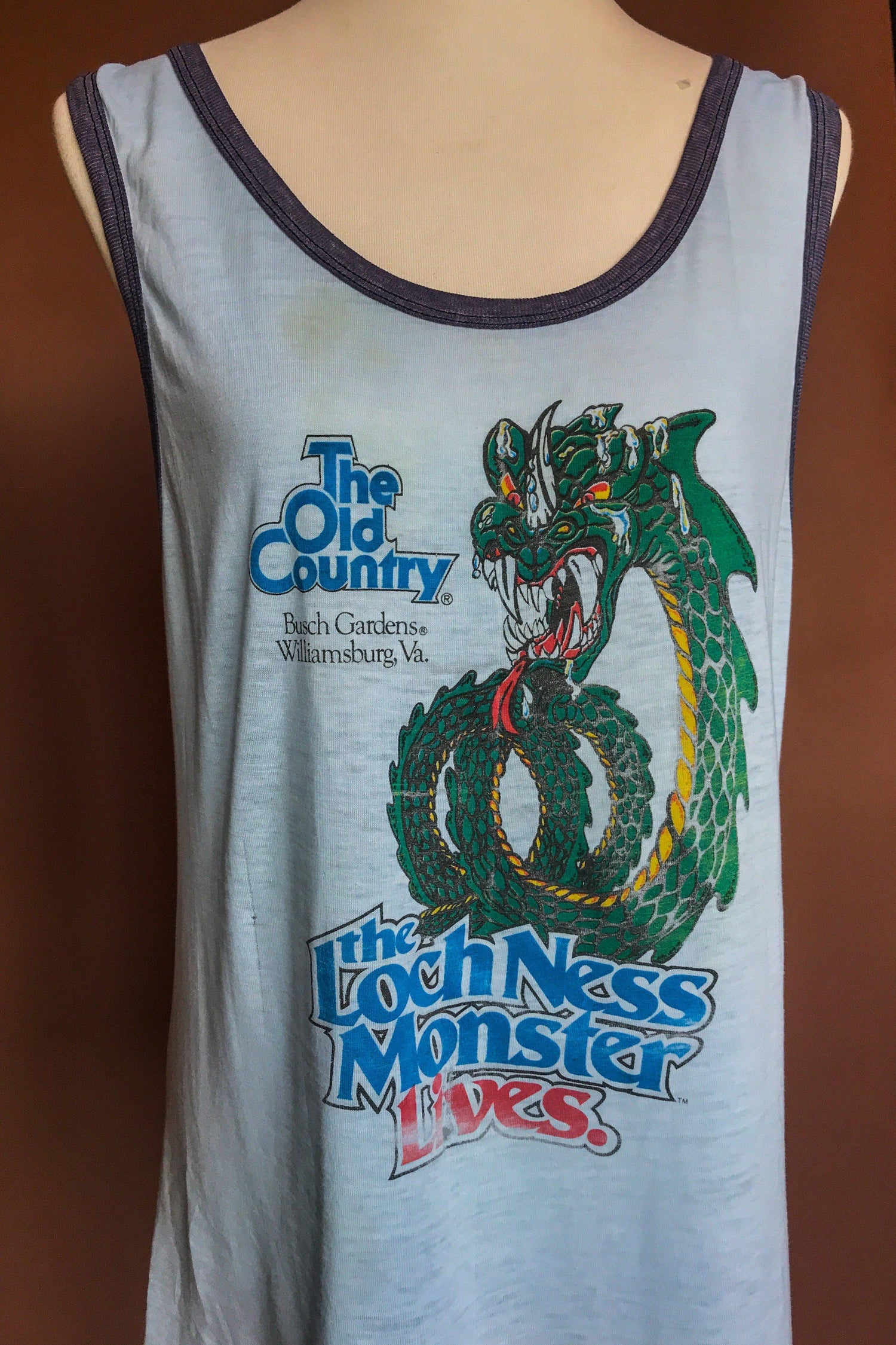 1980s Loch Ness Monster Tissue Thin 50/50 Tank, Tops, BACKBITE, BACKBITE