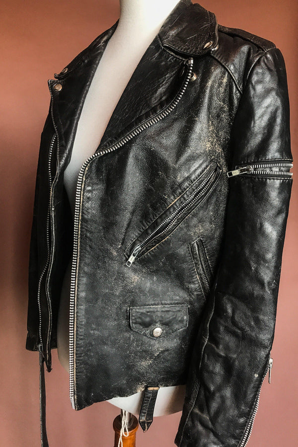 Ideal Beautifully Broken-In Vintage Black Leather Jacket