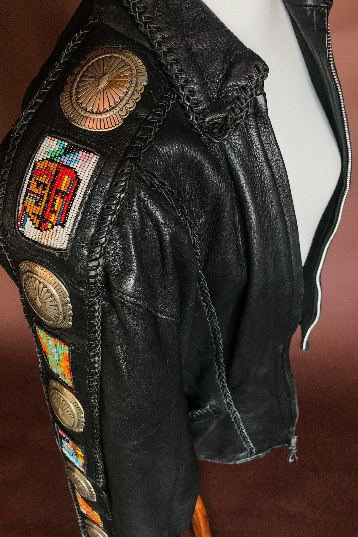 Unreal Handcrafted Ren Ellis Beaded Concho Buttery Leather Jacket