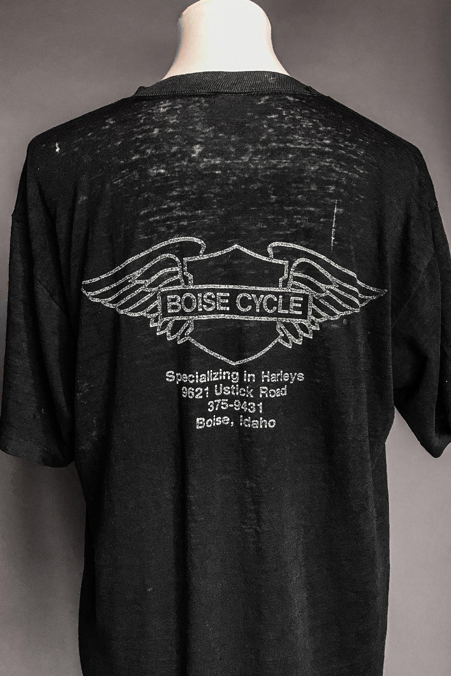 80s Tissue Thin & Tattered 'If I Have To Explain' Black Harley 50/50 Tee
