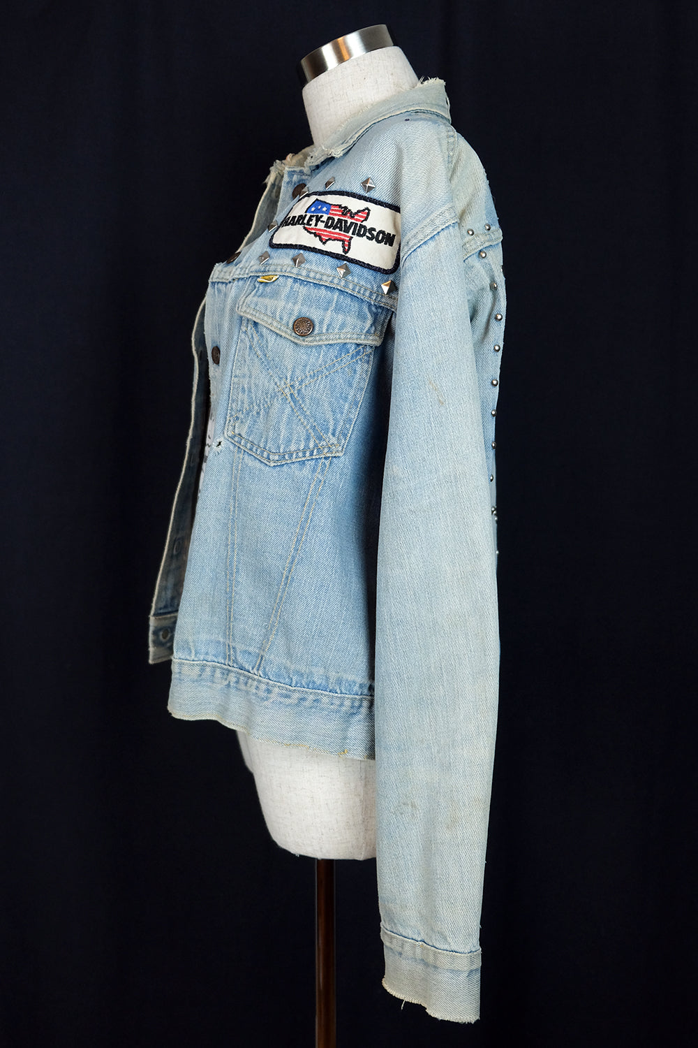 1970s Patched and Studded Denim Jacket