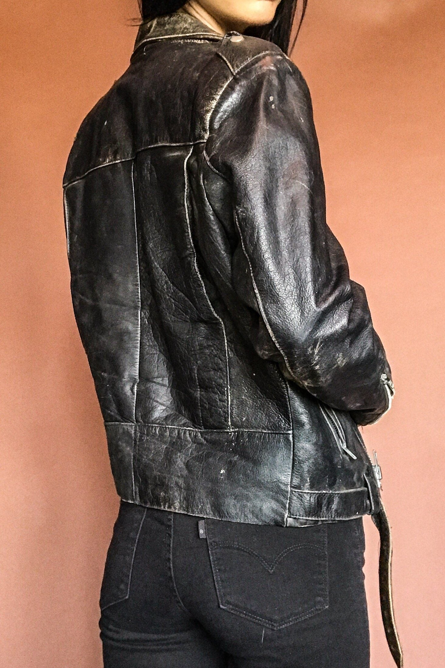 Ideal Beautifully Broken-In Vintage Black Leather Jacket #2 (W/ Red Lining)