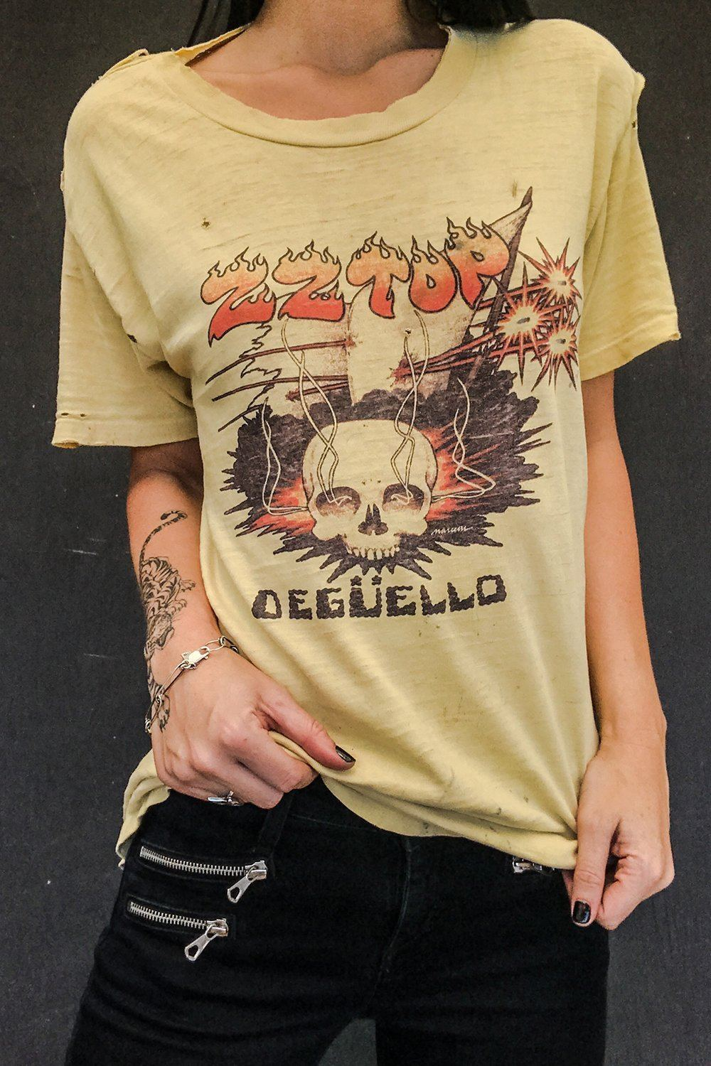 1980 ZZ Top Perfectly Thrashed Deguello Tee, Tops, BACKBITE, BACKBITE