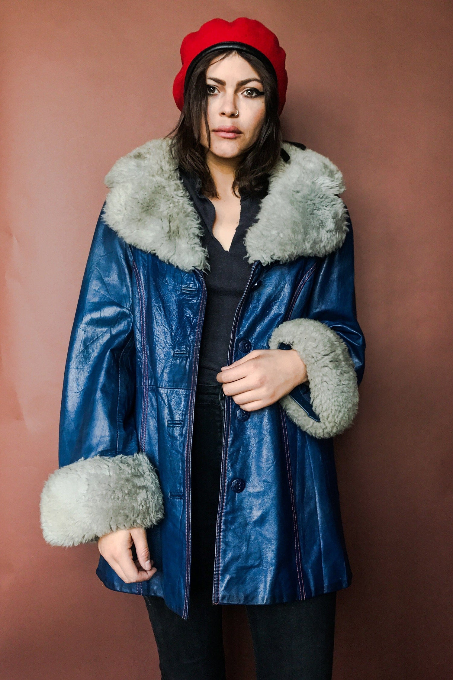 1970s Electric Blue Faux Shearling Penny Lane Coat, Outerwear, BACKBITE, BACKBITE