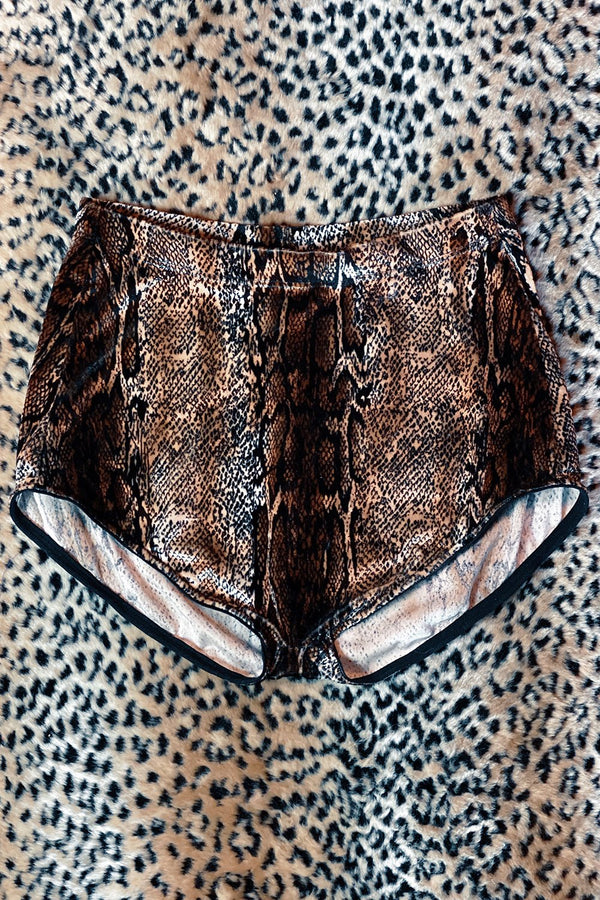 *In Stock Now* Classic Velvet Hot Shorts Size XS・Brown Cobra