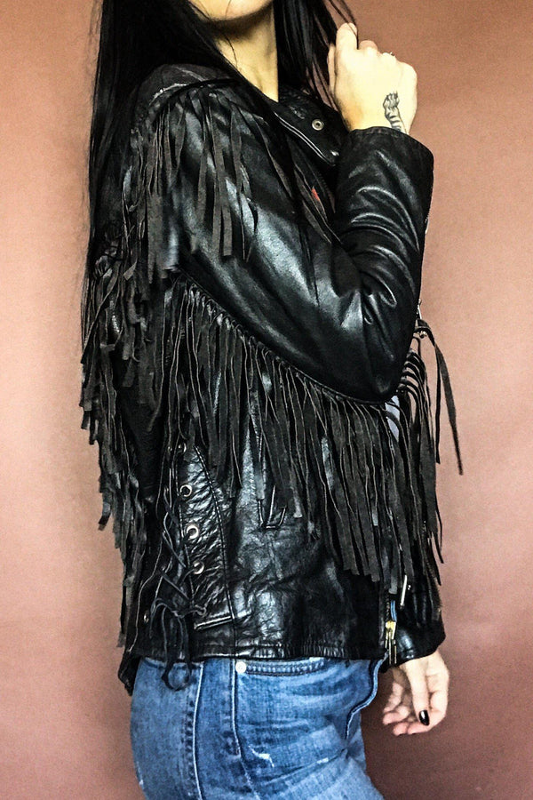 Black Magic Perfectly Fitted Fringe Concho Jacket With Red Suede Details