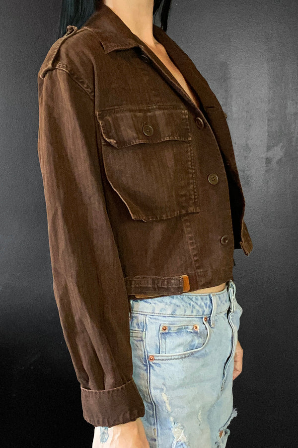 Custom OOAK 1960s Worn & Thin Cropped Brown Military Jacket